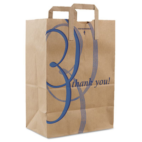 Duro Bag Stock Thank You Handle Bags  12  x 17   Brown  300 Carton (DRO 41265)