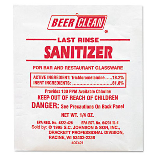 Diversey Beer Clean Last Rinse Glass Sanitizer  Powder   25oz Packet  100 Carton (DVO 90223)