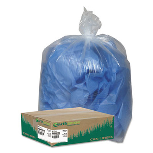 Earthsense Commercial Linear Low Density Clear Recycled Can Liners  45 gal  1 5 mil  40  x 46   Clear  100 Carton (WEB RNW4615C)