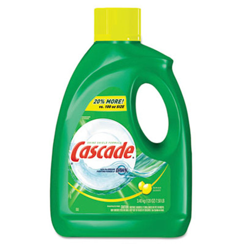 Cascade Dishwasher Gel with Dawn  Lemon  120 oz Bottle  4 Carton (PGC 28193)