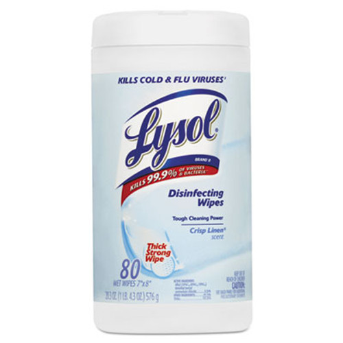 LYSOL Brand Disinfecting Wipes  7 x 8  Crisp Linen  80 Wipes Canister (REC 89346)