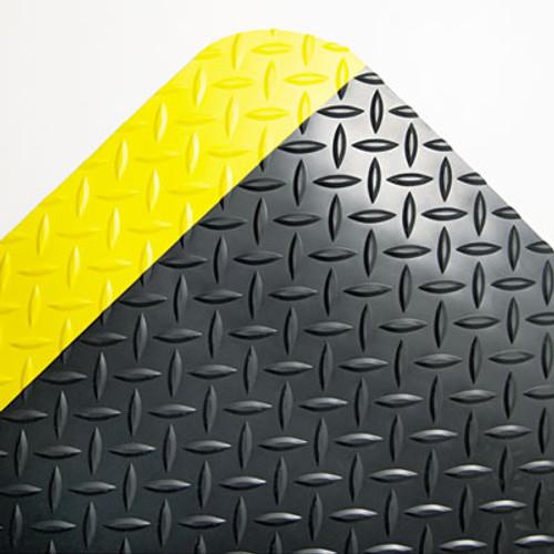 Crown Industrial Deck Plate Anti-Fatigue Mat  Vinyl  24 x 36  Black Yellow Border (CRO CD0023YB)