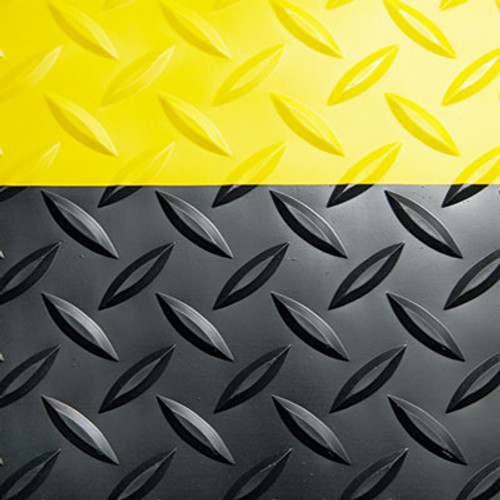 Crown Industrial Deck Plate Anti-Fatigue Mat  Vinyl  24 x 36  Black Yellow Border (CRO CD0023YB)