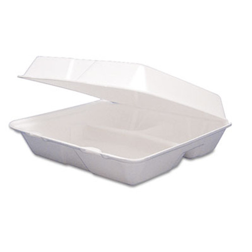 Dart Foam Container  Hinged Lid  3-Comp  8 3 8 x 7 7 8 x 3 1 4  200 Carton (DCC 85HT3R)