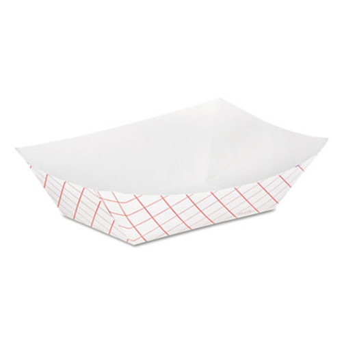 Dixie Kant Leek Clay-Coated Paper Food Tray, 3 3/4 x 1 2/5 x 5 3/10, Red Plaid (DIX RP50)