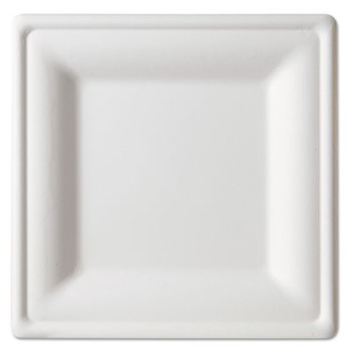 Eco-Products Renewable   Compostable Square Sugarcane Plates - Large  50 PK  5 PK CT (ECP EP-P023)