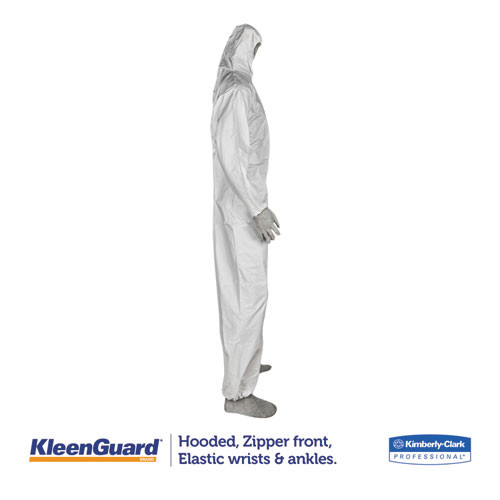 KleenGuard A35 Coveralls  Hooded  Large  White  25 Carton (KCC 38938)