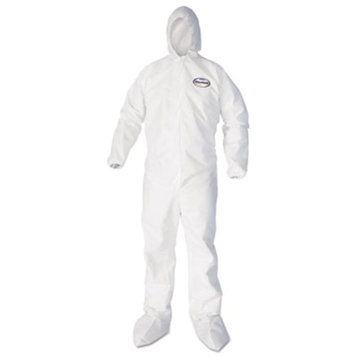 KleenGuard A40 Elastic-Cuff  Ankle  Hood and Boot Coveralls  Large  White  25 Carton (KCC 44333)