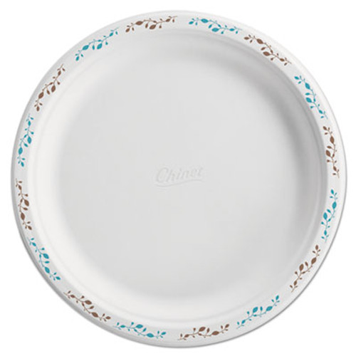 Chinet Molded Fiber Dinnerware  Plate  10 1 2 Dia  WH  Vines  125 Pack  4 Packs Carton (HUH 22519)