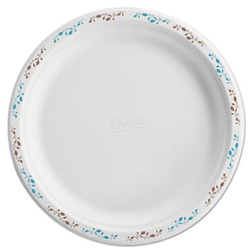 Chinet Molded Fiber Dinnerware  Plate  10 1 2 Dia  WH  Vines  125 Pack  4 Packs Carton (HUH 22519)