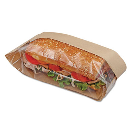 Bagcraft Dubl View Sandwich Bags  2 55 mil  10 75  x 2 25   Natural Brown  500 Carton (BGC 300080)