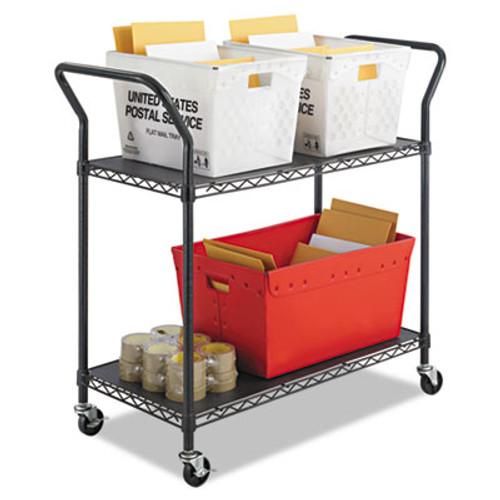 Safco Wire Utility Cart  Two-Shelf  43 75w x 19 25d x 40 5h  Black (SFC 5337BL)