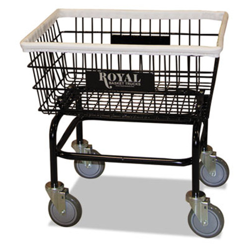 Royal Basket Trucks Small Wire Laundry Cart, 21 x 26 x 26 1/2, 200 lbs. Capacity, Black (RBT R27BKXWA5UN)
