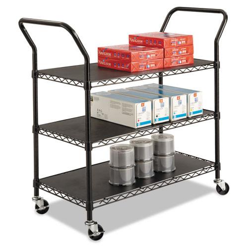 Safco Wire Utility Cart  Three-Shelf  43 75w x 19 25d x 40 5h  Black (SFC 5338BL)