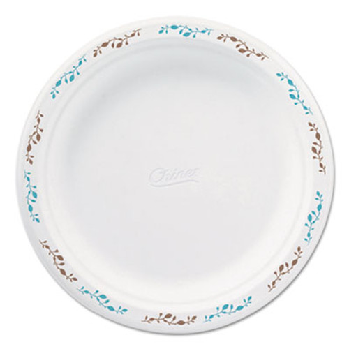 Chinet Molded Fiber Dinnerware  Plate  8 3 4 Dia  White  Vines Theme  500 Carton (HUH 22516)