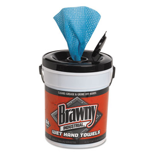 Brawny Industrial Wet Hand Towels  12 1 5  x 8 3 5   1-Ply  Blue  84 Pail  6 Carton (GPC 215-01)