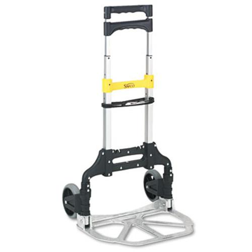 Safco Stow and Go Cart  110 lb Capacity  15 25 x 16 x 39  Aluminum (SFC 4049)