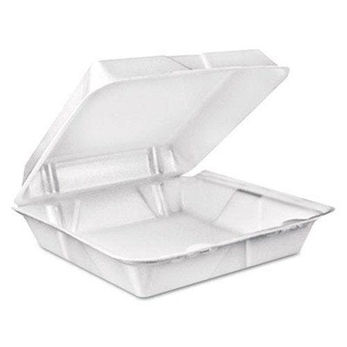 Dart Foam Hinged Lid Containers, 9.375 x 9.375 x 3, White, 200/Carton (DCC 90HT1R)