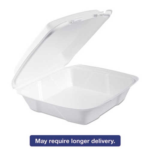 Dart Foam Hinged Lid Containers  9 375 x 9 375 x 3  White  200 Carton (DCC 90HT1R)
