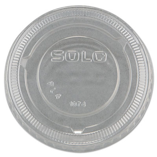 SOLO Cup Company No-Slot Plastic Cup Lids, 3.25-9oz Cups, Clear, 100/Sleeve, 25 Sleeves/Carton (DCC PL4N)