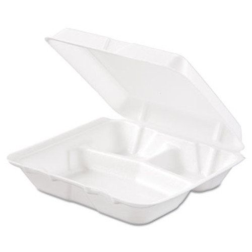 Dart Carryout Food Container, Foam, 3-Comp, White, 8 x 7 1/2 x 2 3/10, 200/Carton (DCC 80HT3R)