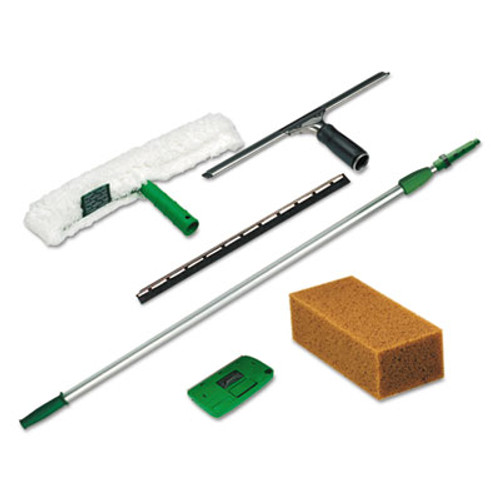 Unger Pro Window Cleaning Kit w/8ft Pole, Scrubber, Squeegee, Scraper, Sponge (UNG PWK0)