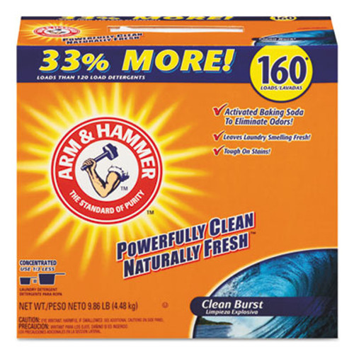 Arm & Hammer Laundry Detergent Powder, Clean Burst, 11.9lb, Box, 3/Carton (CDC 33200-06521)