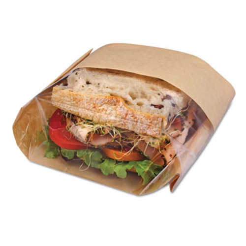 Bagcraft Dubl View Sandwich Bags, 2.35 mil, 9 1/2 x 5 3/4 x 2 3/4, Natural Brown, 500/CT (BGC 300094)
