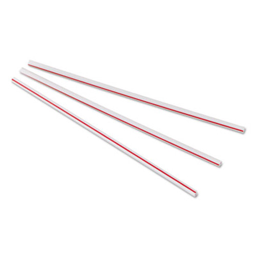 Dixie Unwrapped Hollow Stir-Straws  5 1 2   Plastic  White Red  1000 Box  10 Boxes Ct (DIX HS551)