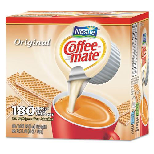 Coffee mate Liquid Coffee Creamer  Original  0 38 oz Mini Cups  180 Carton (NES 753032)