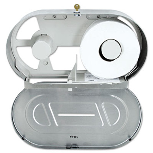 Bobrick Toilet Tissue 2 Roll Dispenser  Satin-Finish Stainless Steel  Jumbo  20 81 x 5 31 x 11 38 (BOB 2892)