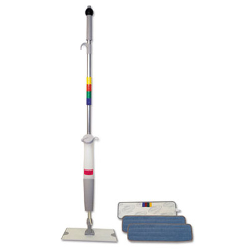 Boardwalk Bucketless Microfiber Mop System  5 x 18 Head  59  Handle  Blue Gray (BWK BWMS-16-MFM)