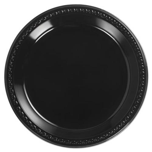 Chinet Heavyweight Plastic Plates  10 1 4 Inches  Black  Round (HUH 81410)