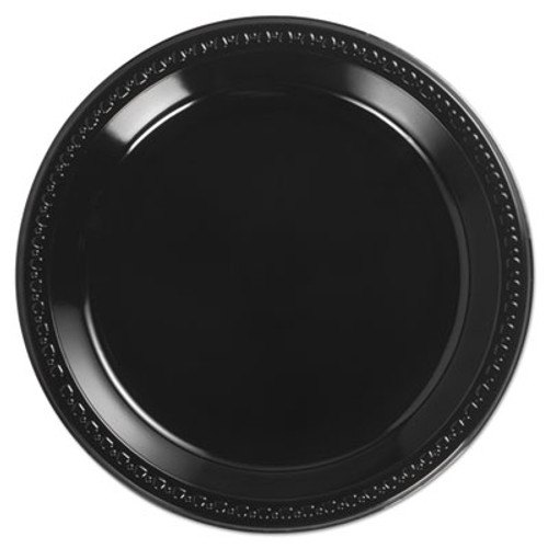 Chinet Heavyweight Plastic Plates  10 1 4 Inches  Black  Round (HUH 81410)