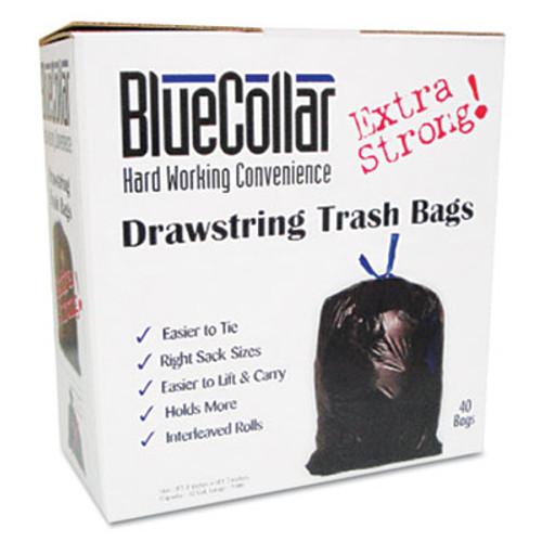 BlueCollar Drawstring Trash Bags  30 gal  1 mil  30  x 34   Black  40 Box (HERN6034YKRC1)