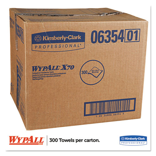 WypAll X70 Wipers  12 1 2 x 23 1 2  Red  300 Box (KCC 06354)
