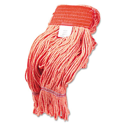 Boardwalk Super Loop Wet Mop Head  Cotton Synthetic Fiber  5  Headband  Large Size  Orange  12 Carton (UNS 503ORCT)