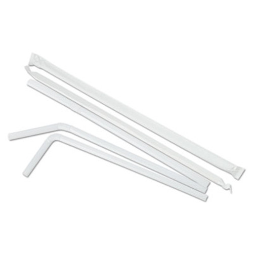 Boardwalk Flexible Wrapped Straws  7 3 4   White  500 Pack  20 Packs Carton (BWK FSTW775W25)