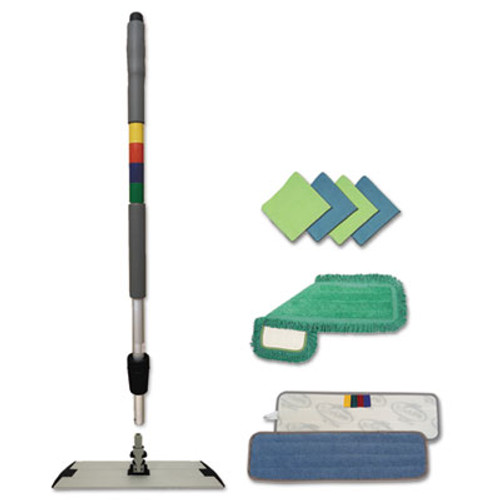 Boardwalk Microfiber Mopping Kit  18  Mop Head  35-60 Handle  Blue Green Gray (BWK MFKIT)