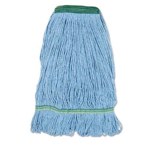 Boardwalk Super Loop Wet Mop Head  Cotton Synthetic Fiber  1  Headband  Medium Size  Blue  12 Carton (BWK 502BLNBCT)