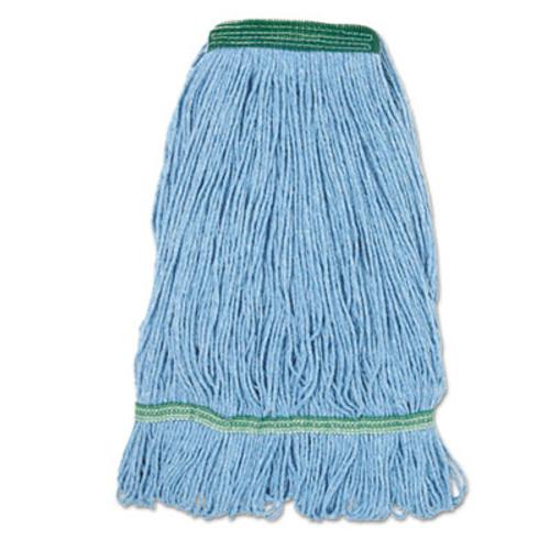 Boardwalk Super Loop Wet Mop Head  Cotton Synthetic Fiber  1  Headband  Medium Size  Blue  12 Carton (BWK 502BLNBCT)