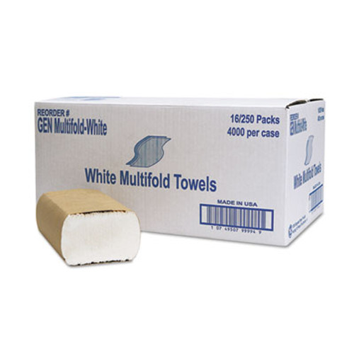 General Supply Multifold Towel, 1-Ply, White, 250/Pack, 16 Packs/Carton (GEN MFLD WHI)