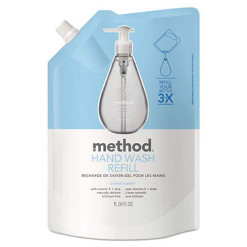 Method Gel Hand Wash Refill, Sweet Water, 34 oz Pouch (MTH00652)
