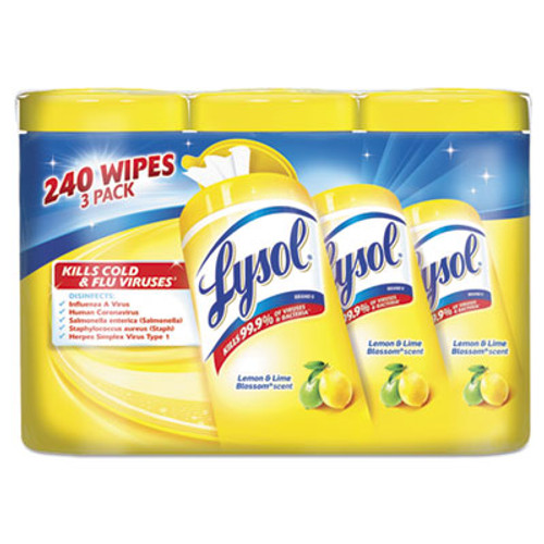 LYSOL Brand Disinfecting Wipes, 7x8, Lemon and Lime Blossom, 80/Canister, 3/Pack, 2 Packs/CT (RAC84251)