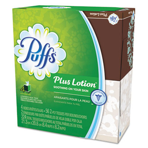 "Puffs Plus Lotion Facial Tissue, White, 1-Ply, 8 1/5"" x 8 2/5"", 56/Box, 24/Carton (PGC 34899)"