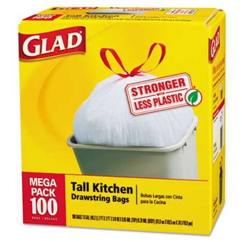 Glad Tall Kitchen Drawstring Bags, 24 x 27 3/8, 13gal, .95mil, White, 100/Box (CLO 78526CT)