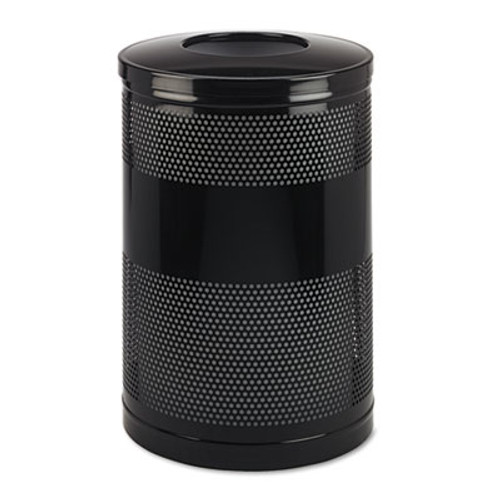 Rubbermaid Commercial Classics Perforated Open Top Receptacle  Round  Steel  51 gal  Black (RCP S55ETBK)