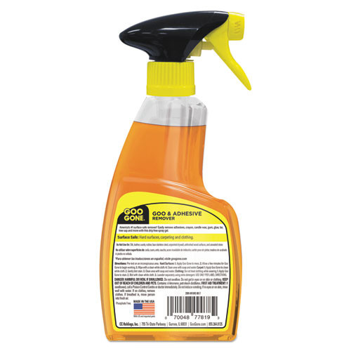 Goo Gone Spray Gel Cleaner  Citrus Scent  12 oz Spray Bottle  6 Carton (WMN 2096)