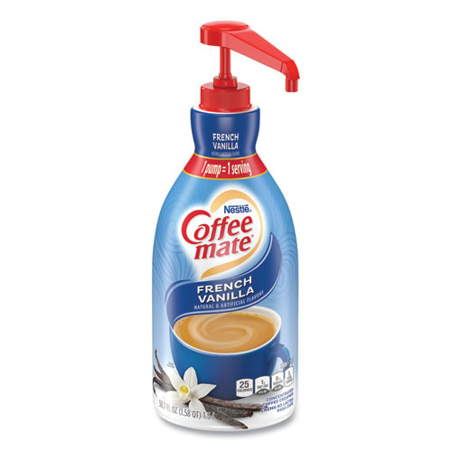 Coffee mate Liquid Coffee Creamer  French Vanilla  1 5 Liter Pump Bottle  2 Carton (NES 31803CT)