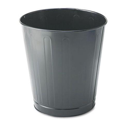 Rubbermaid Commercial Fire-Safe Wastebasket  Round  Steel  6 5 gal  Gray (RCP WB26GRY)